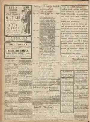 1 Cümhuriyet 8 Kânunusani 1931 MAJiK Bu akşam GALA müsameresi SİNEMASINDA Emniyet Sand ığı Emlâk müzayedesi Kat'î karar ilânı