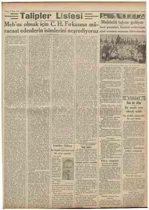 7 Nîsan 1931 Talipler •..umnMumıııınillllUllllllllliillllüllllllllllllIllllllllllllllllllllinilllınnıın. Cnmhuriyet sı Meb'us