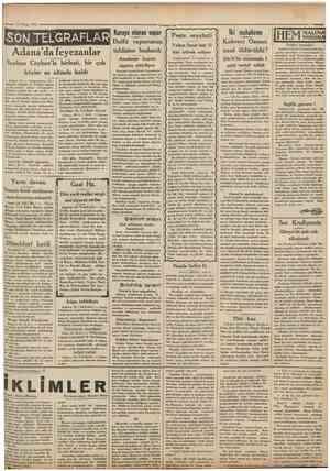 1/ Nisan 1931 = Cumhuriyet SONTELGRAFL ARffi elfit Adana'da feyezanlar Seyhan Ceyhan'la birleşti, bir çok köyler su altında