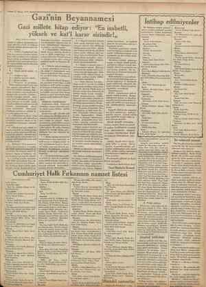 """21 Nisan 1931 Cumhuriyet' Gazi'nin Beyannamesi Gazi millete hitap ediyor: """"En isabetli, yüksek ve kat'î karar sizindir!,,..."""