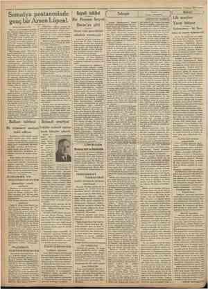 Camhuriyet 4 haziran 1931 Samatya postanesinde genç bir Arsen Lupen!. IBirinci' sahifeden mabit) Cografî tetkikat Bir Fransız
