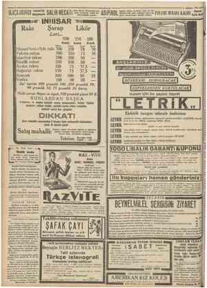 İLAÇLARIIZI istanbul'da Bahçekapıda Rakı SALİH NECATİ INHISAR Şarap Lerl ••# Kilosu CttTn'uiTiyci den alınız. Reçeteleriniz.
