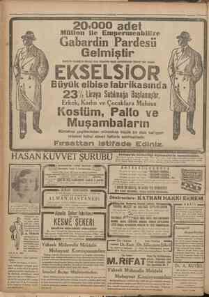 •Cumhariyet •12 Teşrinisani 1931 • Gabardin Pardesü i Gafafa'da Karaköy'de Börekçi fırını ittisalinde büyük mahallebicinin