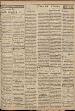 """'21 T«frm!sani 1931 """"ÇamKtırîyef Yunanistanda İthalâtı tahdit ediyor Osmanb Borcları Düyunu Umumiye mec • lisinin bir tebliği"""