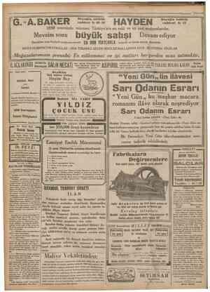 """•24Kanunusanı e Â. B A K E R 1850 senesinde müesses Türkiye'nin en eski ve en asrî mağazalarıdır. caT^rCroe 3""""! HAYDEN..."""