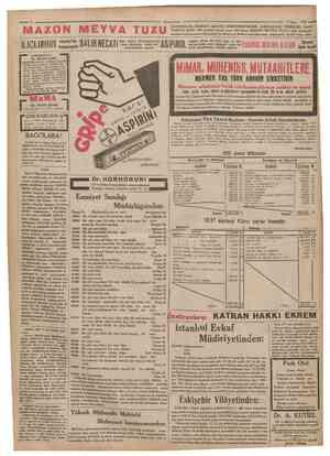 AZON MEYVA TUZU İUÇLARINIZI ^•B BAKTERÎYOLOG Cumhuriyet HMart 1932 HAZ1MSİZLİK, İNKİBA21, BASURU KÖKÜNDEN KESER • BARSAKLARI