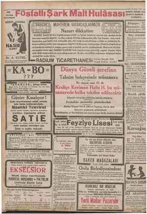 Sttt veren annelere FOsf atlı Şark Malt Hulâsası RADİUM . Ctanhurîyet 15 Eylul 1932 Kullanınız sutünüzö arttırır. Çocukların