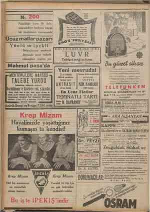 Camhanyei 21 1932 N 200 Pahalılığa karşı ilk defa mücadeleye başlıyan küçük bir mağazanm numarasıdır Ucuz mallar pazarı Yünlü