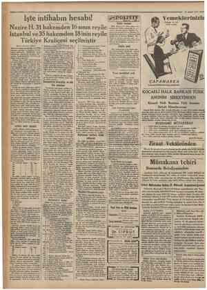 Camhuriyet ' 13 Şubat 1933 İşte intihabın hesabı! Nazire H. 31 hakemden 16 sının reyile İstanbul ve35 hakemden 18inin reyile