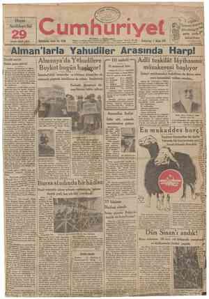 Hayat Ansîklopedisi uncu cüzü çıktı 29 Ookuzuncu sene: No. 3198 umhuriyet ÎSTANBUL CAĞALOĞLU Telgraf ve mektup adreal:...