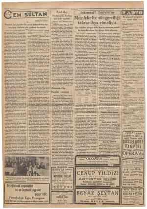 CamJiuriyeî 9 Nisan 1933 Rauf Bey Yazan: M. TURHAN Hindistan'da Türkiye için neler söyledi? Kahire'de çıkan Muhadenet gaze •