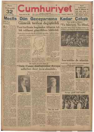 Hayat Ansiklopedisi inci cüzü cıktı 32 Onuncu sene: No. 3256 Telgraf TelefOn tSTANBUL CAĞALO&LU mektup ıdred: Cumhuriyet....