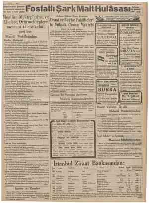 23 Ağustos 1933S Zafiyeti umumiye, iştihasızlık ve kuvvetsizlik halâtında büyük fayda ve tesiri görülen Fosfatlı Şark Malt