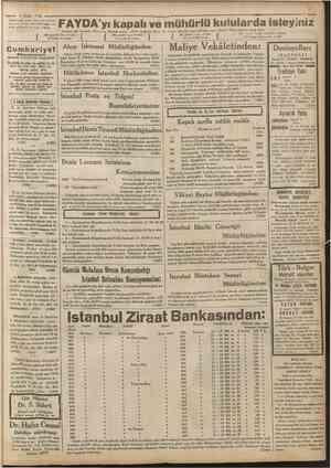 Hayat Ansiklopedisi 53 iincü cüzü cıktî OCCÖ ISTANBUL CAGALOGLU 4 NO. uUUO Telgraf ve mektup adred: Cumhuriyet, Istanbul...