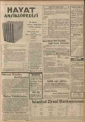 Hayat Aiisîklopedisî 53 uncu cuzu çıktı : NO. 3 5 6 0 Telgfaf ve mektup adresl: Cumüuriyet, Istanbul Posta kutusuf...