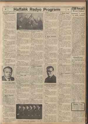 6 Mayıs 1934 Haftalık Radyo Programı Bu aksamki program j İSTANBUL: 18,30 plâk neşriyatı 19 Ajans haber leri 19,30 alaturka
