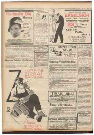 5 Camhuriyei 12 Mayıs 1934 Radyolin Diş Macunu Şevilmek için ^ Hoşa gitmeli ve Güzel bir ten olmalı EKSELSiOR Büyük Elbise