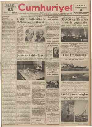 HAYAT Ansiklopedisi •• «s.. •• 63 çıktı cüzü Cumh 07 | t HAYAT Ansiklopedisi , 1 • n r ıı 1934 « J M J Teteraf ve mefetup...