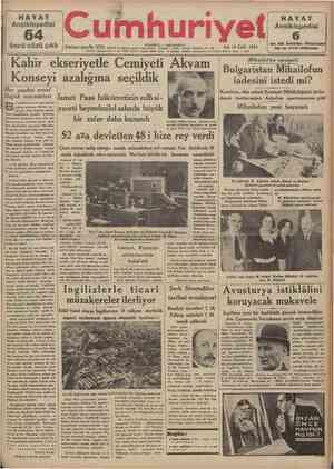 """HAYAT Ansiklopedisi üncü cüzü çıktı 64 J Onbirinc; sene No 3725 T** """" »e«np umhuriyet ****.** ™ Salı 18 EyJul 1934 Cemlyetl"""