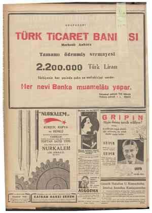 """5E*Psy EKE Lİ i >   —2 Ikincikânun193"""" a! ADAPAZARI Kah TÜRK TiCARET BANI SI Merkezi: Ankara Tamamı ödenmiş Sermayesi..."""