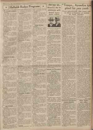 14 Nisan 1935 ' Cumhuriyet' Haftalık Radyo Programı aksaroki orogram ÎSTANBUL: 18 dans musiklsi, plâk 18,30 jimnastik, Azade