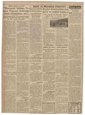 """=9 Cumhuriyet 3 Mayıs 1935 ( Şehir ve Memleket Haberleri """"Bavyeralı binbaşı, Litspanyaya mukabe Aydın demiryollarının man..."""