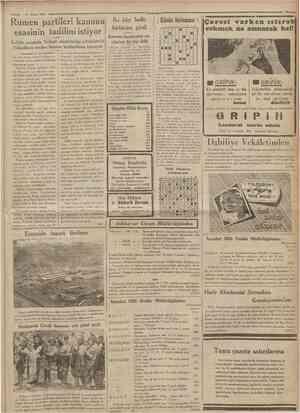 4 Mayıs 1935 Cumhuriyet•• Rumen partileri kanunu esasinin tadilini istiyor (Baftarafı 1 inci tahifede) miş olan Rumen...
