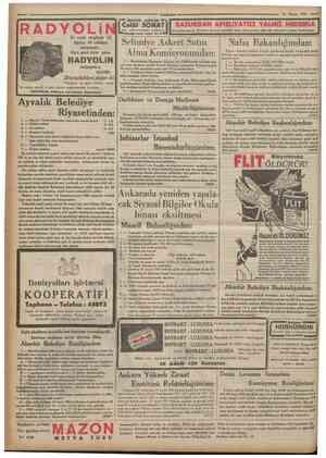 """Cumburiyet 12 Mayıs 1935 RADYOLi ICelâl SONAT l l d r a r yollan hastalıklan mütehassisi * ^ """" B*yoğlu hnam sokafc No. 5 # •"""