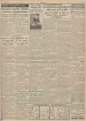 11 irâa 1935 CUMHüBtYET 5ON TEIEFON HAB ERLER TELCRAr v« TELSiZLE Bursada yapılan dünkü atletizm müsabakaları Galatasaray...