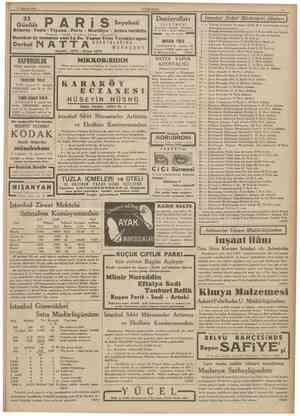 27 Hariran 1935 CUMHURİYET 23 Günlülc Peşte Viyana Paris Marsilya Atina tarikile Pagaport Vizeler • Sevahat Oteller •...