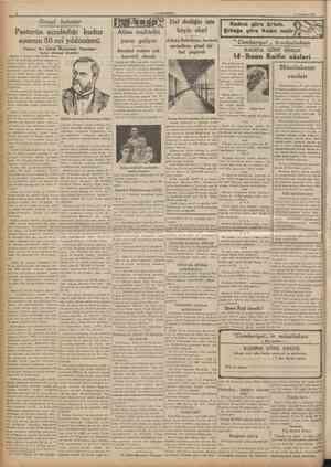 CUMHUEtTET 6 Temmuz 1935 Ilimsel bahisler Pastörün açınladığı kuduz aşısının 50 nci yıldönümü ^ Yazan: Dr. Zekâl Muammer...