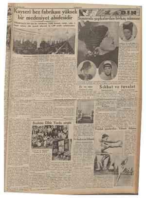 Eylul 1935 CUMHURÎTET Kayseri bez fabrikası yüksek bir medeniyet abidesidir Sonmoda şapkalardan birkaç nümune 4,500,000...
