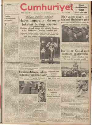 CUMHURİYET 3 Mayıs 1936 [ Şehlr ve Memleket HaberJerJ ) Tarihî tef rika: 21 M. TURHAN TAN Siyasî icmal Habeş Imparatoru ve