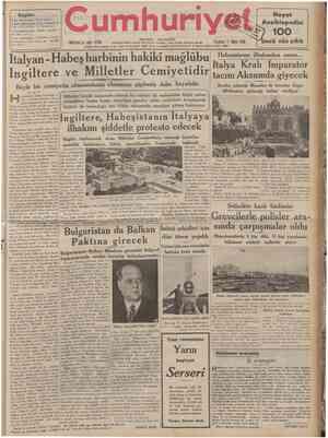 CUMHTJRİYET 11 Mavıs 1936 VIYANA DONUŞU Tarihî tefrika: 29 M. TURHAN TAN f Şehlr ve Memleket Haberlerl • ] Siyasî ilmî...