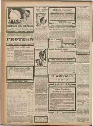 CUMHURİYET 24 Mayıs 1936 KOZMİN MACUNU «K£uatfHtl KOZMİN DİŞ MACUNU ile yıkarlarsa güzellikleri bir kat daha artacaktır....