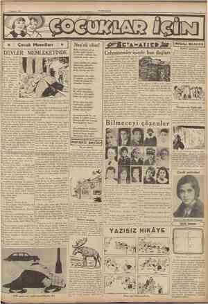 15 Ağustos 1936 CUMHURİYE1 Çocuk Masalları ÎÎH3iîJJÎÎ0Ylîu»îJîîö3îuîîîlMJ&^ \ • (;>; Nes'eli olun! Ruhu tazelerse sevinc,...