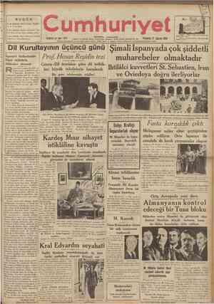BUGÜN 2 ncl sahifede: Siyasî İcmal îngilte re ve Yunanistan. 5 Inci sahifede: Terbiye bahislerl Se lim Sırrı Tarcan, Mavi...