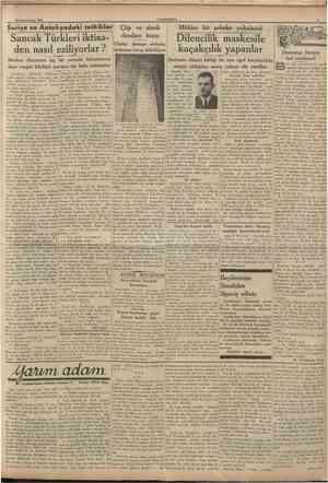 22 Birinciteşrrn 1936 CUMHURÎYET Suriye ve Antakyadaki telkikler Sancak Türkleri iktisaden nasıl eziliyorlar ? Medenî...