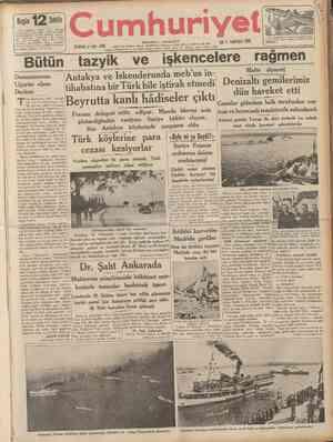 CUMHURÎYET 17 İkinciteşrin 1936 Mareşal Fevzi Çakmak f Şehir ve Memleket Haberleri ) dün Bükreşten geldi Hava Kurumuna...