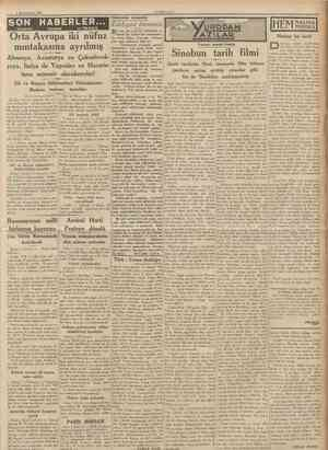 2 Birincikânun 1936 CUMHUKIY:EX SON HABERLER Orta Avrupa iki nüfuz mıntakasına ayrılmış TELEFON TELGRAF ve TELSiZLE...