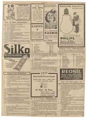 16 CUMHURİYET I Subat 1937 HASAN HASAN KOLONYA VE LOSYONLARI 90 derece limon çiçekleri kolonyasile Leylak, Yasemin, Viyolet,