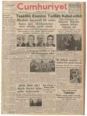 """İÇ SAHİFELERDE 3 üncü sahifede: Edebiyat Peyami Safa 5 inci sahifede : Yunanistanda teşhir """"""""... edilen Türk tabloları 6 ncı"""