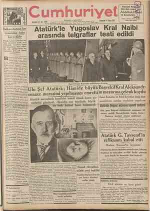 CUMHURİYET 14 Nisan 1937 ( Şehir ve Memleket Haberleri ) Siyasî icmal Tarihî tefrika : 88 Yazan : M. Turhan Tan (Tercüme ve