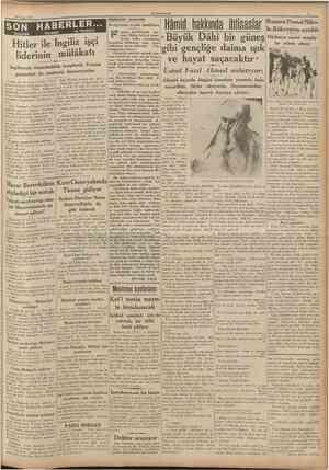 CUMHURİYET 21 Nisan 1937 Küçük hikâye Gözleri görmiyen kız yüzünü, yüksek duvarlarm arasmdan süzülen güneşe kaldırmıştı....