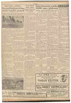 CUMHURİYET 23 Nisan 1937 Italya Ispanyaya yeniden RADVO Geçenyıl başlıyan r efahın Cumhuriyet abidesi önün 50,000 asker...