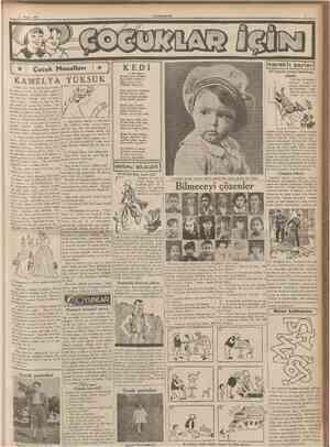 2' Nisan 1937 CüMHURnrET Çocuk Masalları merakh şeyler] Monolog Köpek nasıl sadıksa Tersinedir kediler!.. Eğer canım sıksa