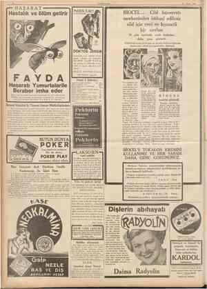 10 CUMHURİYET 27 Nisan 1937 Hastalık ve ölüm getirir HAŞARAT NAS1R İLAC1 KAMZUK BİOCEL... Cild hüceyratı merkezinden istihsal