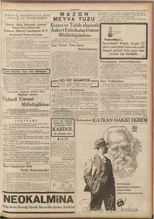 29 Nisan 1937 OUMHURÎYET U giderir. Hiçbir zararlı ve müshi] maddesi yoktur. Şeker hastalığı olanlar bile alabiîirler. MÎDE