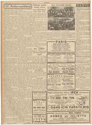 CÜMHURÎYET 30 Nisan 1937 Küçük hikâye Arabacmın köpeği J tnhisarlar hasılatı boyuna artıyor İzmir itfaiyesinde tekâmül RADVO
