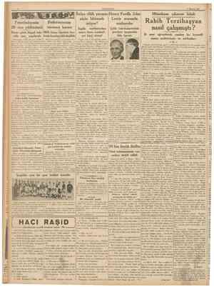 CUMHURİYET 3 Haziran 1937 Fenerbahçenin 29 ncu yıldönümü Federasyonun manasız kararı İtalya silâh yarışını Henry Fordla John
